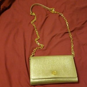 Authentic Gold Tory burch Robinson chain wallet